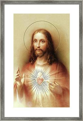 Framed Print featuring the mixed media Sacred Heart Of Jesus by Movie Poster Prints