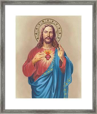Sacred Heart Framed Print by Valer Ian