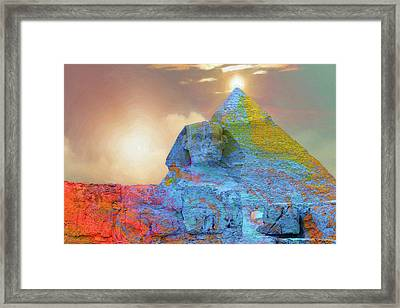 Sacred Places - The Great Sphinx Of Giza In Front Of The Great Pyramid Framed Print
