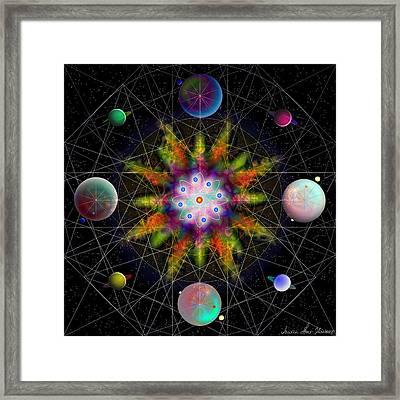 Framed Print featuring the digital art Sacred Planetary Geometry - Dark Red Atom by Iowan Stone-Flowers