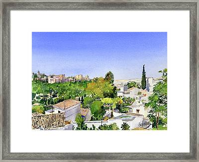 Sacromonte And The Alhambra Granada Framed Print by Margaret Merry