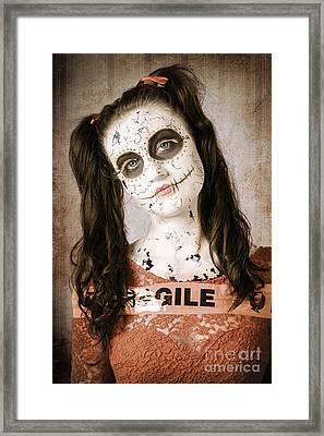 Sad And Ruined Sugarskull Doll With Shattered Face Framed Print by Jorgo Photography - Wall Art Gallery
