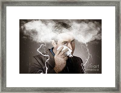 Sad And Unhappy Businessman Crying A Head Storm Framed Print