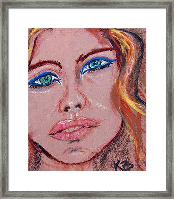 Sad Blue Eyes-framed Framed Print