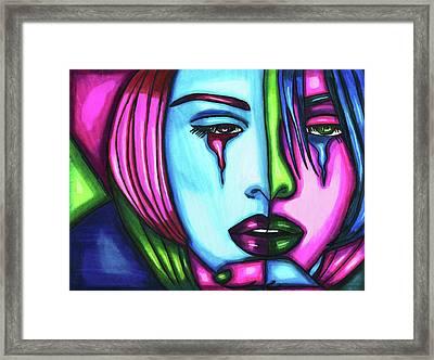 Sad Crying Woman Face Abstract Art Framed Print