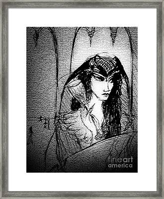Sad Drunk Lady Framed Print by Sofia Metal Queen