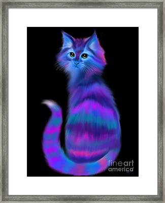 Framed Print featuring the painting Sad Eyed Colorful Cat by Nick Gustafson