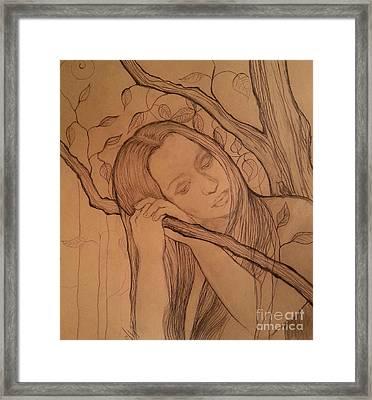 Sad Girl With A Bird Framed Print