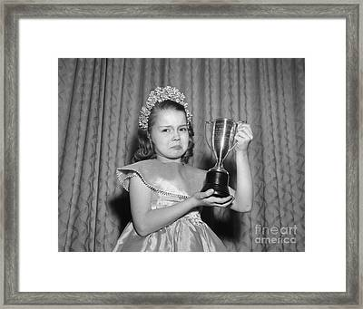 Sad Girl With Second Place Trophy Framed Print