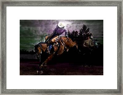 Saddle Bronc Silhouette Framed Print by Mark Courage