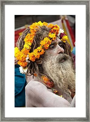 Sadhu - Hardwar India Framed Print by John Battaglino