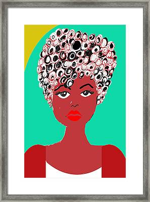 Sadie Girl With The Curls Framed Print by Liz  B Taylor