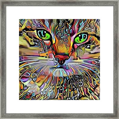 Sadie The Colorful Abstract Cat Framed Print