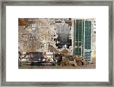 Sadistic Exploits Framed Print by Tom Romeo