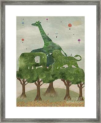 Framed Print featuring the painting Safari Wood by Bri B