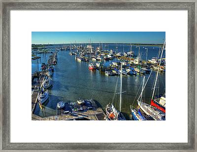 Safe Harbor Charlston Yacht Club Art Charleston City Marina Framed Print