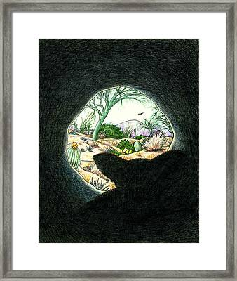 Safe In The Den Framed Print by Theresa Higby