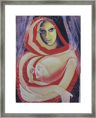 Safe In Torn Net Framed Print by Rajesh Chopra
