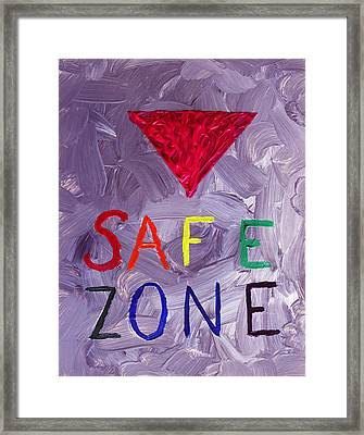 Safe Zone Space Gender And Sexual Minority Lgbtqia In Purple Pink Red Green Orange Yellow Blue Lgbt  Framed Print