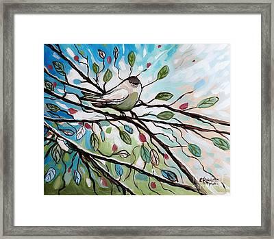 Sage Glimmering Songbird  Framed Print by Elizabeth Robinette Tyndall