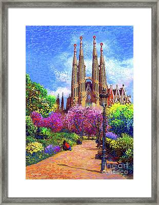 Sagrada Familia And Park,barcelona Framed Print by Jane Small