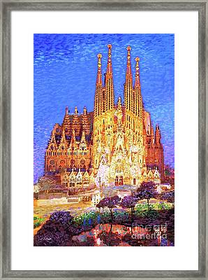 Sagrada Familia At Night Framed Print by Jane Small