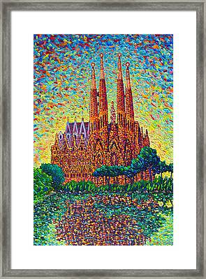 Sagrada Familia Barcelona Modern Impressionist Palette Knife Oil Painting By Ana Maria Edulescu Framed Print