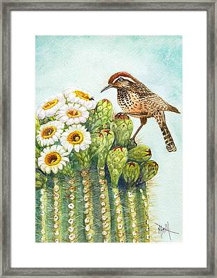 Framed Print featuring the painting Saguaro And Cactus Wren by Marilyn Smith
