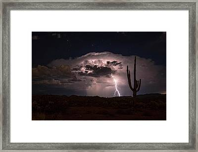 Framed Print featuring the photograph Saguaro Lit Up By The Lightning  by Saija Lehtonen