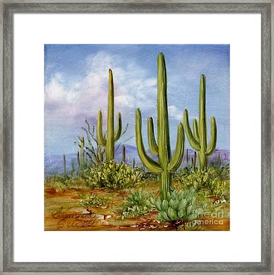 Saguaro Scene 1 Framed Print by Summer Celeste