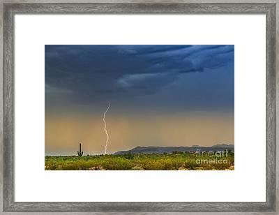Saguaro With Lightning Framed Print