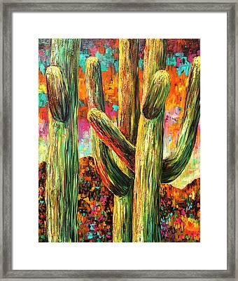 Saguaros At Sunset Framed Print