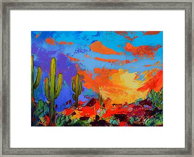 Saguaros Land Sunset Framed Print