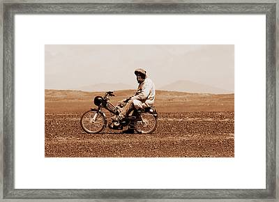 Framed Print featuring the photograph Sahara Biker by Ramona Johnston