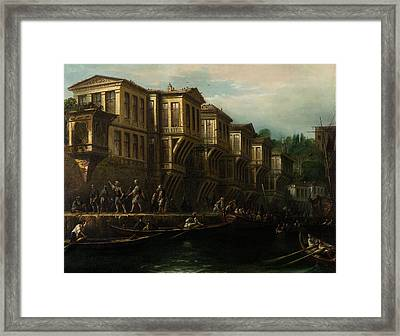 Said Pasa Waterfront Mansion Painted Framed Print