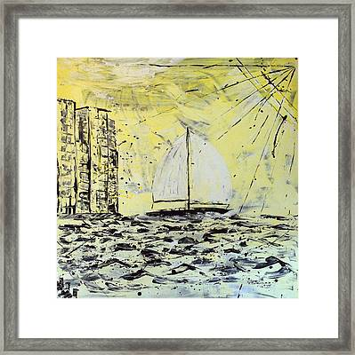 Sail And Sunrays Framed Print by J R Seymour