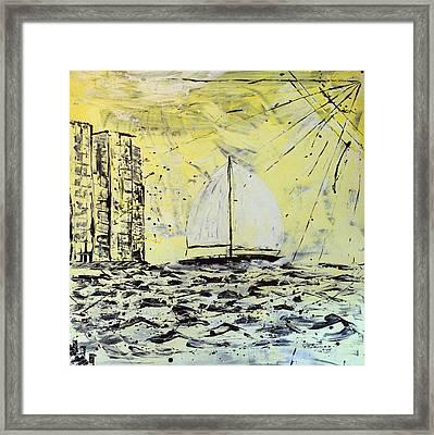 Sail And Sunrays Framed Print by J R Seymour
