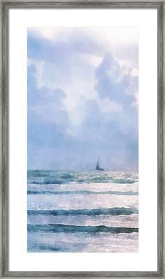 Framed Print featuring the digital art Sail At Sea by Francesa Miller