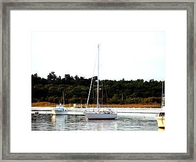 Sail Boat At Anchor  Framed Print