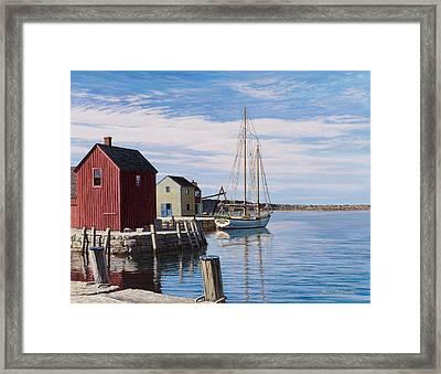 Sail Boat At Rockport Framed Print by Bruce Dumas