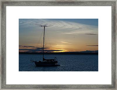 Sail Boat At Sunset Framed Print