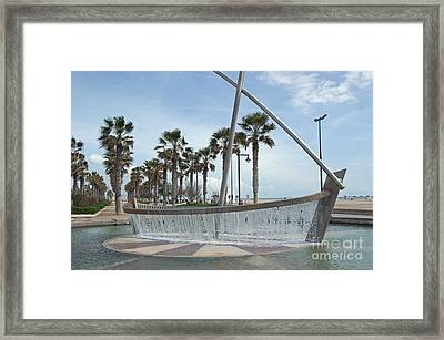 Sail Boat Fountain In Valencia Framed Print