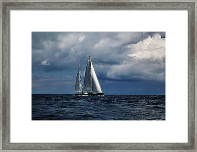 Sail Boat In Stormy Sea.  Framed Print