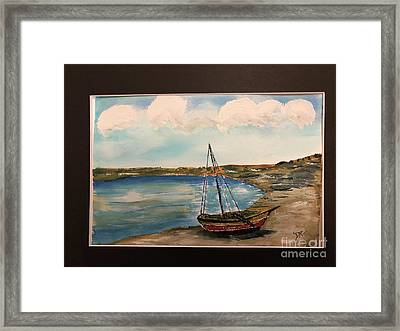 Framed Print featuring the painting Sail Boat On Shore by Donald Paczynski