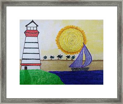 Sail Boat With Purple Sails Framed Print