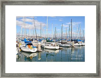 Sail Boats At San Francisco China Basin Pier 42 With The Bay Bridge In The Background . 7d7664 Framed Print by Wingsdomain Art and Photography