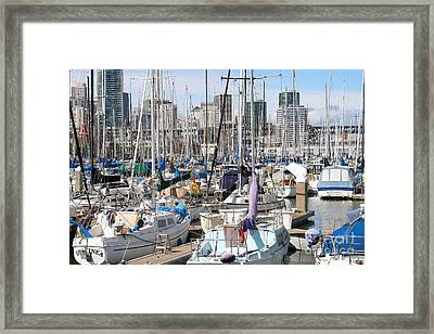 Sail Boats At San Francisco China Basin Pier 42 With The San Francisco Skyline . 7d7675 Framed Print