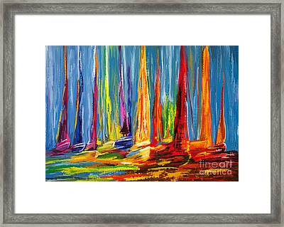 Sail Boats In A Row Framed Print by Tim Gilliland