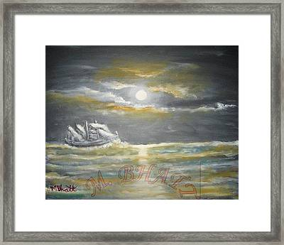 Sail In Moonlight Framed Print by M Bhatt