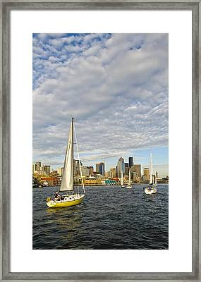 Sail On Seattle Framed Print by Tom Dowd